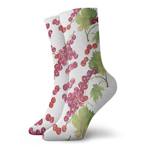 Calcetines deportivos rojos de cerezas, calcetines unisex a media pierna, calcetines tobilleros