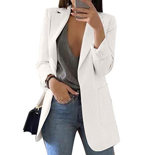 LPxdywlk Moda Color Sólido Solapa Manga Larga Mujer Business Casual Blazer Coat Traje Chaqueta
