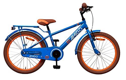 Amigo Sports - Bicicletta per bambini 20 pollici - Per Bambino di 5-9 Anni - Freno a mano, Freno a contropedale, Cavalletti per bicicletta e Luci per Bicicletta - Blu