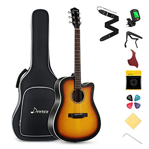 Donner Akustikgitarre Set in voller Größe, Cutaway Gitarre Anfänger 41 Zoll mit Gigbag Capo Plektren Gurt Saiten (Sunburst, DAG-1CS)