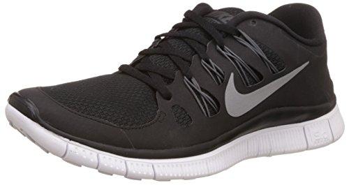 Nike Womens Free 5.0+ Running Shoes Black/Metallic Silver/Dark Grey 580591-002 Size 8