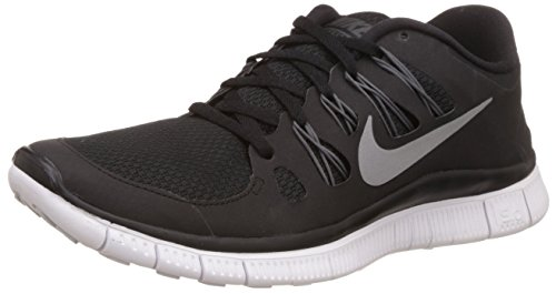 Nike Womens Free 5.0+ Running Shoes, Black/Metallic Silver/Dark Grey/White