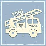 Nachtlicht Lampe Lars das Löschfahrzeug Feuerwehrauto Kinderzimmer-Lampe/Tauf-Geschenk/zur Geburt/Personalisiert mit Wunsch-Name für Mädchen/Jungen Schlummerleuchte Babyzimmer [Energieklasse A++]