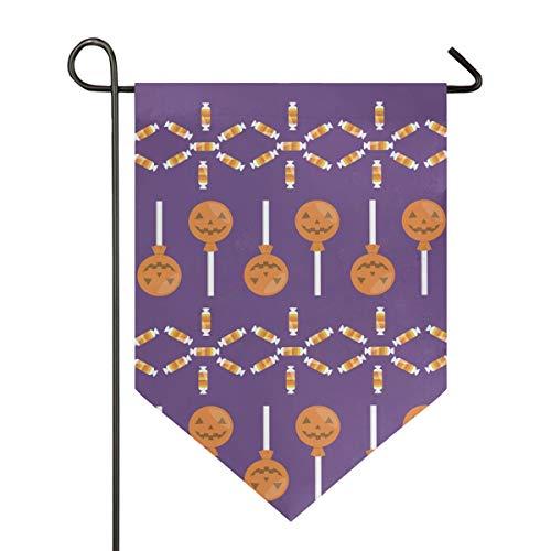 DEZIRO Garden Flag Hallowmas Pompoen Snoepjes Verticale Dubbele Zijde Yard Decor Kleurrijk Ontwerp voor Alle Seizoenen & Vakanties 12x18.5in 1 exemplaar