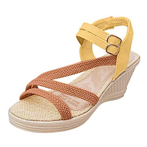 MRULIC Damen Keilsandalen Mode Roma Schuhe Schnalle Plattform Mittelhohe Schuhe