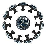Dony Tirador de agua azul con reflejos y ondas, manijas de gabinete y tiradores de cajón para gabinetes de cocina, cajones, gabinetes y accesorios para decoración del hogar (12 paquetes)