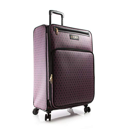DKNY Expandable Signature Gems Softside Spinner Luggage, Deep Purple, 28 Inch