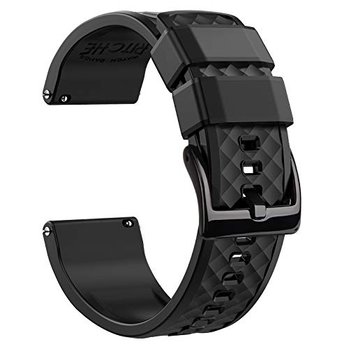Ritche 22mm Silicone Watch Band Compatible with Samsung Galaxy Watch 3 (45mm) Samsung Gear S3 Classic Watch Quick Release Rubber Watch Bands for Men Women