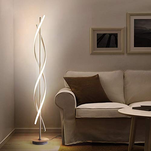 30W LED Floor Lamp Remote Control Dimmable Spiral Floor Lamp Indoor Lamp Floor Lamp for Living Rooms Family Rooms Bedrooms Offices Lighting (White)