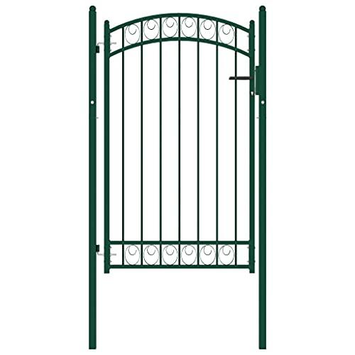 vidaXL Puerta de Jardín con Arco Superior Cancela Valla Verja Patio Entrada Exterior Cerca Cerradura Robusta Estable Duradera Acero Verde 100x150 cm