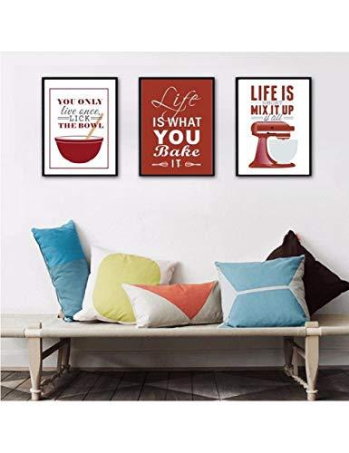 GASFG Posters En Prints Leven Quote Canvas Muur Schilderen Leven Is Wat Je Bak Moeder Gift Pop Art Decoratieve Modulaire Afbeeldingen