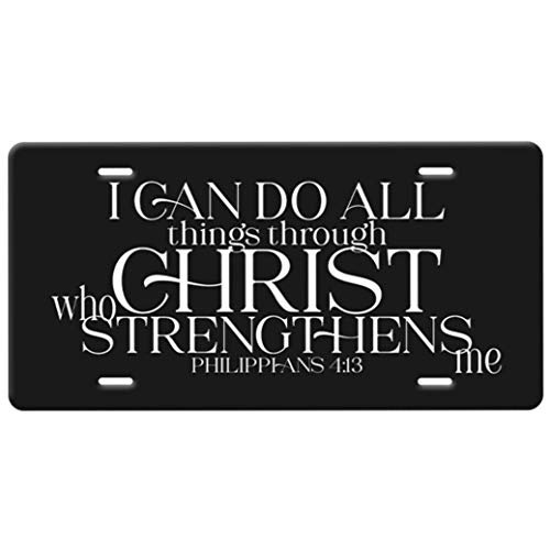 Philippians 4:13-I Can Do All Things Through Christ Christian Bible Verse Quote in White on a Black Background metal Vanity License Plate for front of car tag