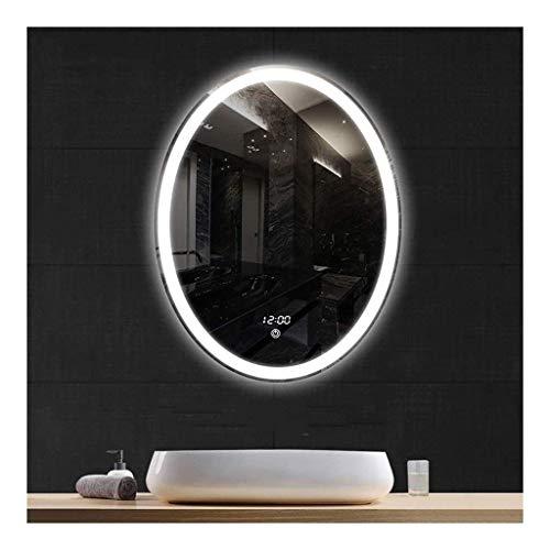 Pursue Interruptor + Sensor táctil LED Iluminado Espejo de baño con luz de visualización de la Hora Temperatura Antivaho Pad (Size : 60 * 80cm)
