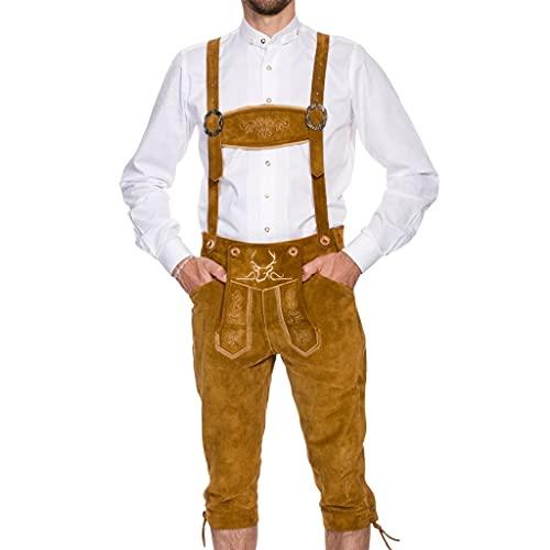 Oktoberfest Lederhosen Men by BAVARIA TRACHTEN – REAL Leather – The Original Men's Lederhosen from Germany – Authentic German Octoberfest Outfit/Costume – Excellent Stitching & Details (Waist: 30, Long)