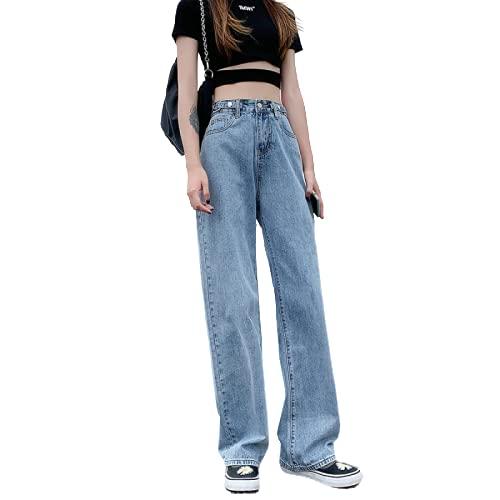 Pantalones Vaqueros Casuales de Mujer Pantalones Anchos de Cintura Alta Pantalones Vaqueros de Novio Moda Todo...