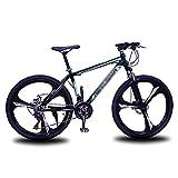 MENG Bicicleta de Montaña con Mde Acero Al Carbono 21/24/27 Bicicleta de Velocidad 26 Pulgadas Ruedas con Freno de Disco Dual Unisex (Tamaño: 24 Velocidad, Color: Verde)/Verde/21 Velocidad