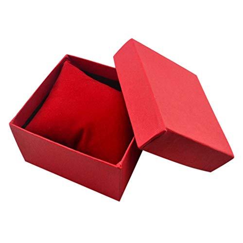 Collecsound - Caja cuadrada de cartón para guardar el reloj o la pulsera, para usar como joyero o caja para regalos, con almohadilla, Rojo, talla única