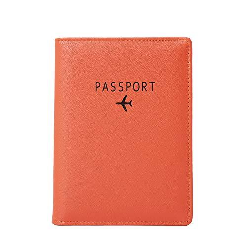 BAKUN Travel Wallet & Family Leather Passport Holder Cover RFID Blocking Travel Wallet, Leather Card Case, Travel Document Organizer Case(Orange)