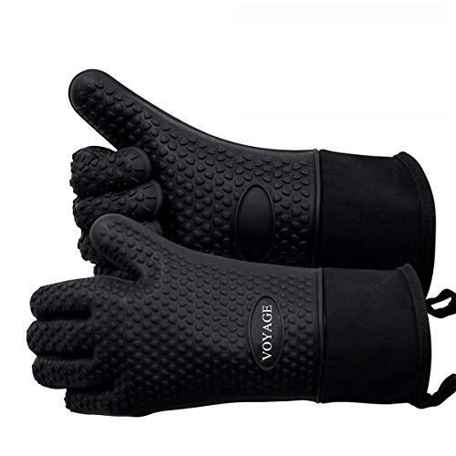 Voyage Premium Ofenhandschuhe (2er Set) bis zu 350°C - Silikon Extrem Hitzebeständige Grillhandschuhe BBQ Handschuhe zum Backen, Barbecue, Extra Lange Topfhandschuhe für Extreme Sicherheit(Schwarz)