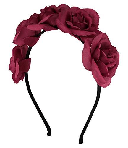 SIX Haarreif mit dunkelroter Rosen-Verzierung, ideal für den Alltag, Sommer, Festival (591-095)