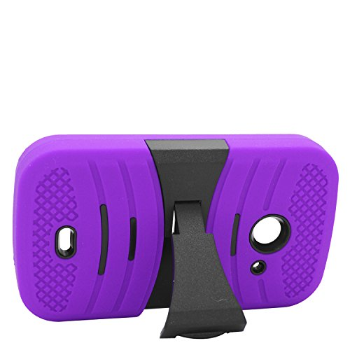 Eagle Cell ZTE Z667/Zinger/Prelude 2/Whirl 2 Hybrid Armor Protective Case with Stand - Retail Packaging - B2 Black/Purple