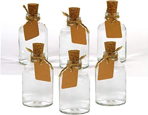 casa-vetro 12 x kleine mini WINZIGE Flaschen Höhe 7 cm Set mini-50-TR Bindefaden und Etikett inklusiver Glas klar Deko Blumen-Vase Hochzeit (12 x Vase)