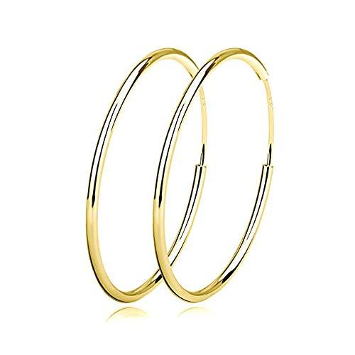 Damen Creolen Ohrringe Sterling Silber Huggie Kreolen Groß Rund Hängend Klapp-Creolen Ohrhänger für Frauen Mädchen Schmuck Durchmesser Vergoldet 20mm