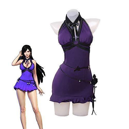 Tifa juego de disfraces de cosplay Final Fantasy VII Remake Springy Purple Dress Sexy PartyHalloween Cloister Fabric