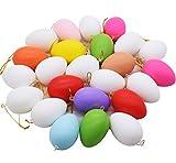 ZSWQ 24x Coloridos Huevos de Pascua para Colgar, Adornos Colgantes de Pascua, decoración de Pascua, niños de Juguete de Color Blanco y Simulación Huevos plásticos cáscara