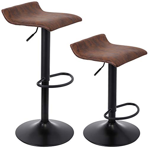 SUPERJARE Adjustable Bar Stools Set of 2, Rustic Swivel Barstools with Back, Modern Counter Height Chairs for Pub Kitchen, Retro Brown
