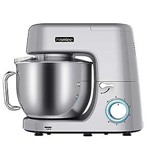 Homlee1800W Batidora Amasadora,Robot de cocina Automática Multifuncional, Profesional Amasadora de Bajo Ruido para Repostería Alta potencia Amasadora de pan con Cuenco de 7,2L