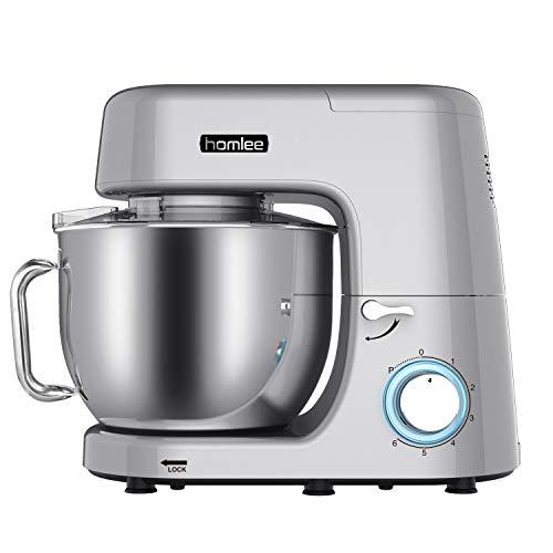 Homlee Professionelle Küchenmaschine 1800W Hohe Energie Knetmaschine Planetenmixer mit 6 Geschwindigkeitsstufen 7.2 Liters, Silver