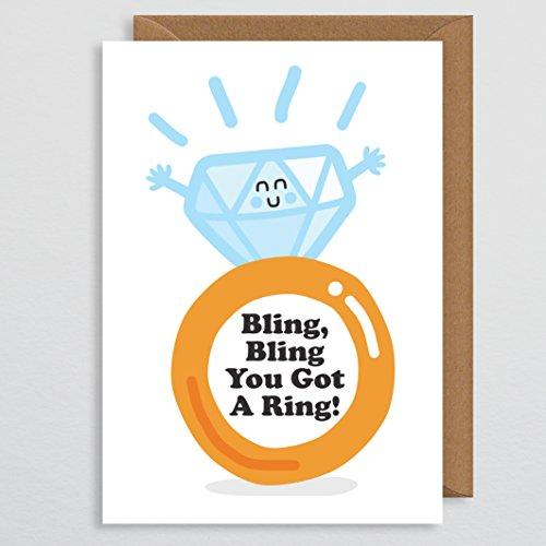 Bling Bling je kreeg een ring - verlovingskaart grappig voor koppels - verlovingsring - diamanten ringkaart - grappige verlovingskaart - zoon in de wet - dochter - voor hem - voor haar