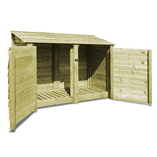 Rutland County Garden Furniture Hambleton 4ft Tall Log Store/Garden Storage Heavy Duty Pressure Treated Timber With Forward Sloping Roof (Solid Log Store With Door, Light Green)