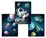 Weltall Kinderzimmer Bilder mit Astronaut, Rakete, Planeten