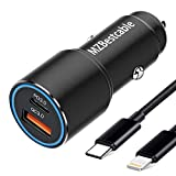 Cargador Coche USB C PD 3.0+QC3.0 para iPhone 11 12/11 12 Pro/11 12 Pro Max/12 Mini/SE 2020 XR XS X 8 7/8 Plus/XS MAX,36W Carga Rapida Doble Puertos USB Adaptador:Quick Charge 3.0+PD 3.0+1M Cable