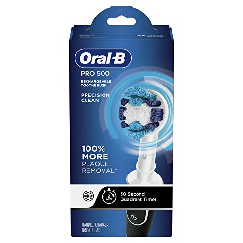 Oral-B Pro 500 Electric Toothbrush with Automatic Timer and Precision Clean Brush Head, Original, Black