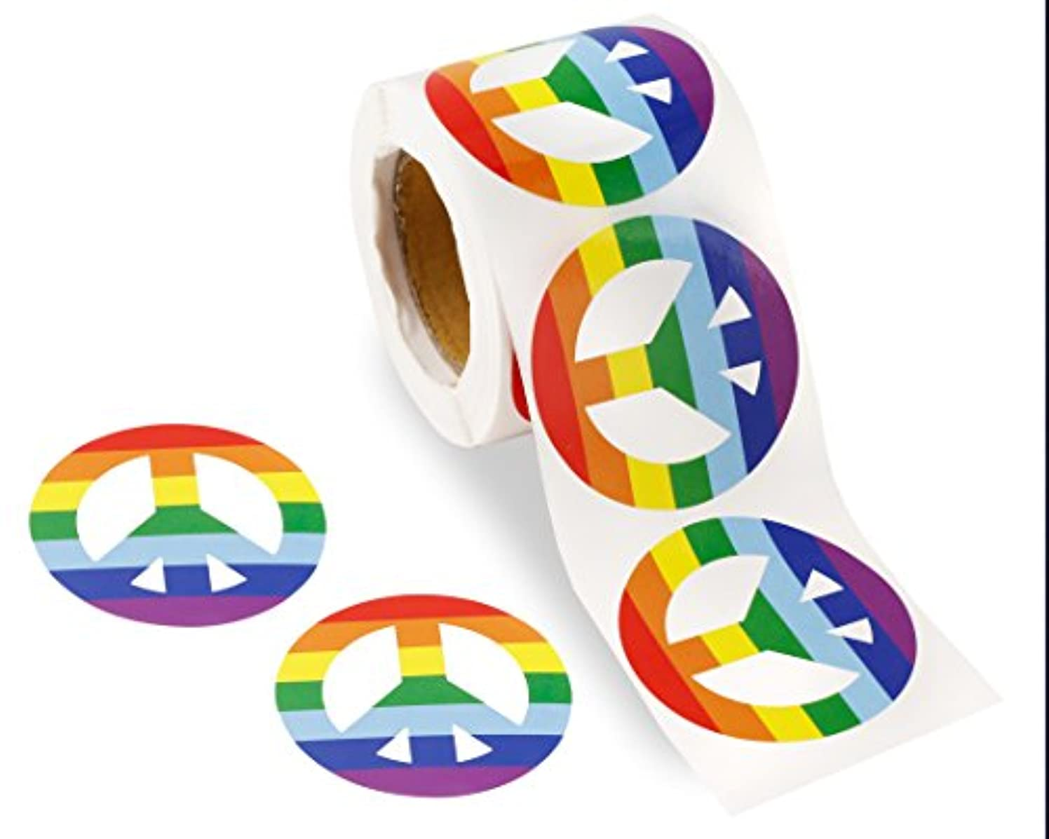 250 Gay Pride Peace Sign Rainbow Stickers on a Roll - Peace Sign Shaped (250 Stickers) - Support LGBT Causes