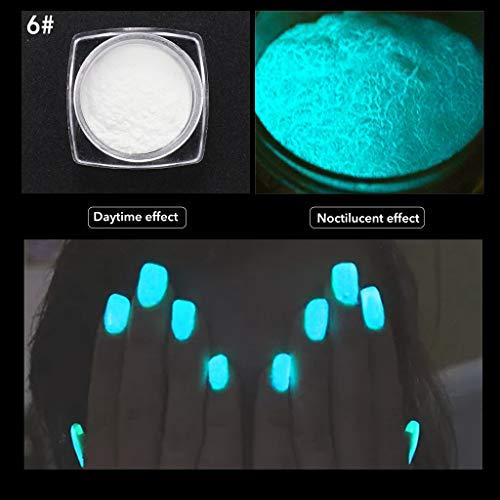 aiyvi Neon Farben Glitzerpuder Nagellack-Pulver Gradienten Glitter Nail Art,Im Dunkeln leuchten...