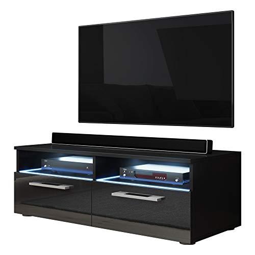 Porta TV Silver (nero opaco / lucido nero con LED)