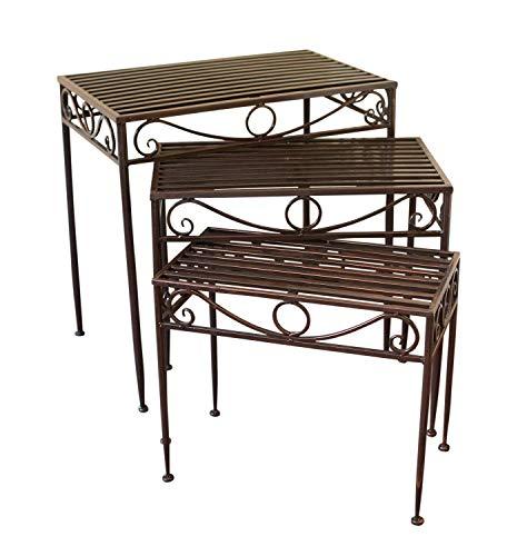 Dreierset - Beistelltische oder Untergestelle aus Metall, im Versailles-Stil, in antiker Bronzeausführung - Ideal für Haus und Garten