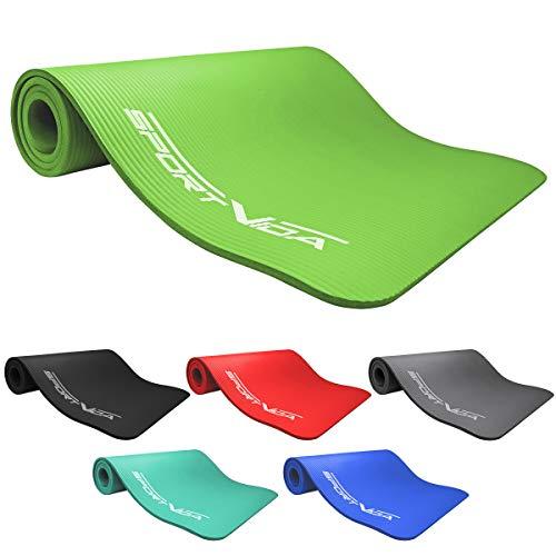 SportVida NBR Matte. Rutschfest Extradick Yogamatte mit Weicher Schaum. Dicke Turnmatte für zuhause Training mit Tragegurt 180 x 60 x 1,5 cm. Yoga Übungen. (Green)