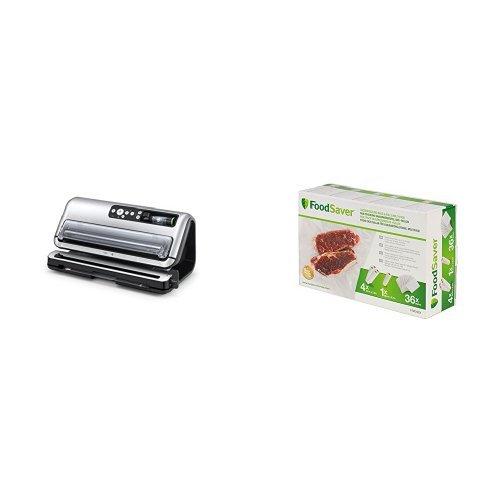 Foodsaver - Envasadora al vacío y pack de bolsas y rollos para conservación de alimentos - FFS006X + FGP252X