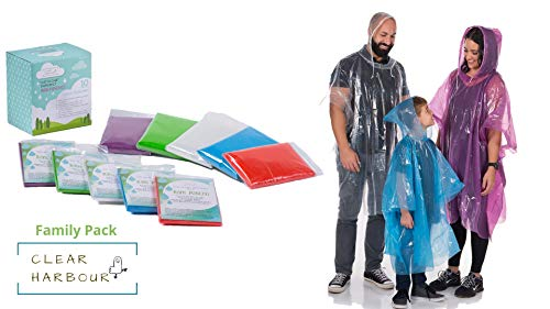 Clear Harbour Emergency Disposable Poncho Family Pack | Thick Reusable .03mm PE Plastic Rain Ponchos for Women, Men, and Children | Rain Poncho Family Pack for Theme Parks