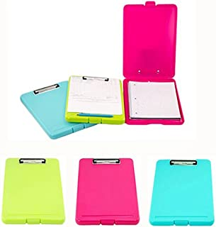 Adorox Set of 3 Letter Size Slim-case Storage Clipboard Teal Pink Neon Green Plastic Storage Clipboard for Students, Teachers, Sales, Utility, Industrial, Office Professional (Multicolored)