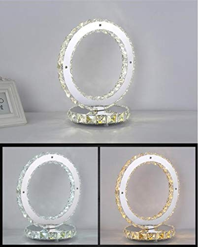 Moderne creatieve LED roestvrij stalen tafellamp woonkamer decoratie kristal @ Circular_European plug_Circular_European plug_Warm White