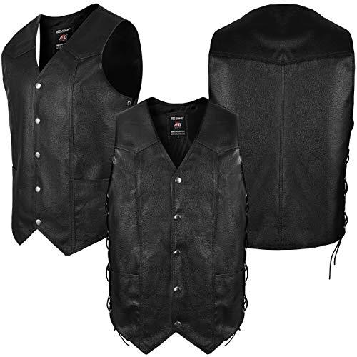 4Fit Men's Black Cowhide Leather Classic Motorcycle Side Laces Biker/Club Vest (XXXL)