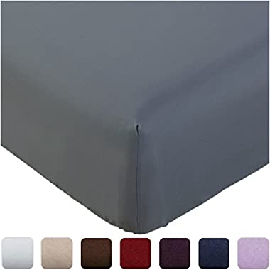 Mellanni Fitted Sheet Cal-King Gray Brushed Microfiber 1800 Bedding - Wrinkle, Fade, Stain Resistant - Hypoallergenic - (Cal King, Gray)