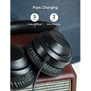 Active Noise Cancelling Headphones Bluetooth Headphones Wireless Headphones BesDio Over Ear Headphones with Quick Charge, Bluetooth 5.0, Mic, Deep Bass, 30H Playtime for Travel Work Cellphone