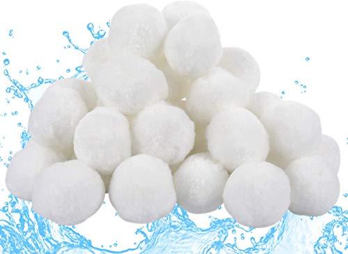 Funmo - Bola de Filtro para Piscina, 700g Filter Balls Alternative para 25 KG Filtro de Arena (Blanco)